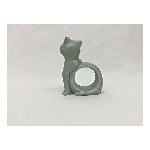 Ironstone Celadon Cats Napkin Rings - Set of 4 - Image 7 of 9