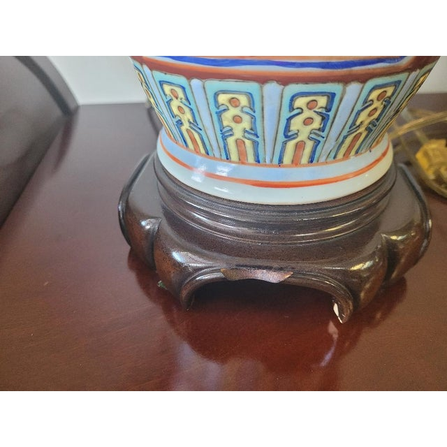 Vintage Mid Century Chinese Hand Carved Lamp For Sale In Atlanta - Image 6 of 11