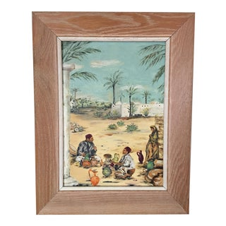 Vintage Moroccan Village Painting For Sale