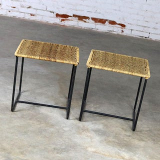 Caif-Asia Style Wrought Iron and Rattan Side Tables - A Pair Preview