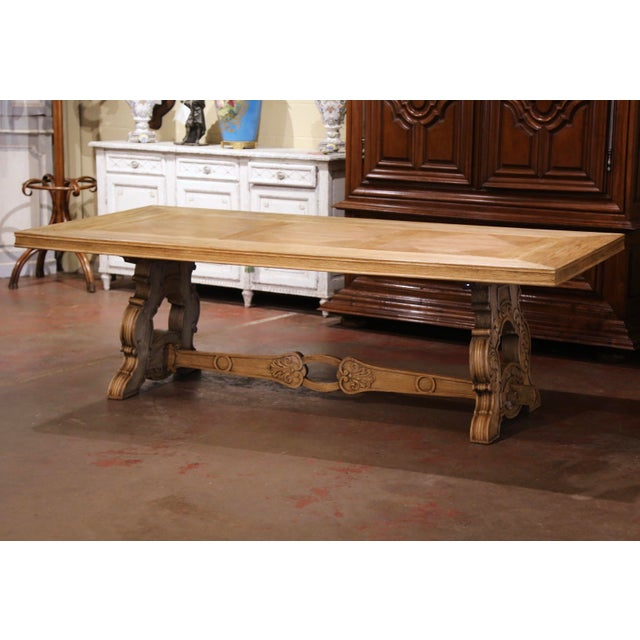 Early 20th Century French Carved Bleached Oak Marquetry Trestle Dining Table For Sale - Image 13 of 13