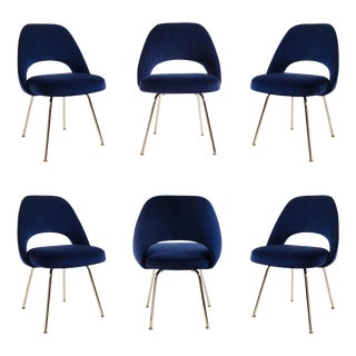Original Saarinen Executive Armless Chairs in Navy Velvet, Custom 24k Gold Edition - Set of 6 For Sale