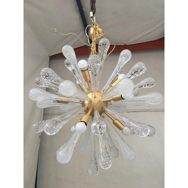 Chandelier Sputnik Brushed Gold Murano Glass For Sale - Image 11 of 11
