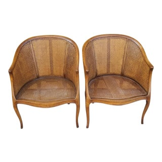 1930s Victorian French Cane Back Barrel Chairs - a Pair For Sale