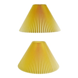 Vintage Large Pleated Fabric lamp shades - a Pair For Sale
