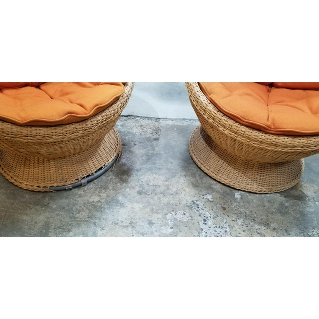 Orange 1970's Mod Rattan Lounge Chairs, a Pair For Sale - Image 8 of 10