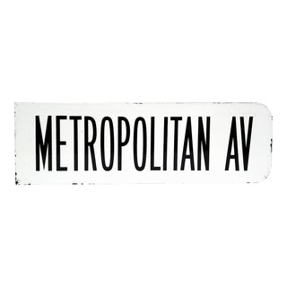 "1960s Enamel and Metal Street Sign - ""Metropolitan Av""- Brooklyn For Sale"