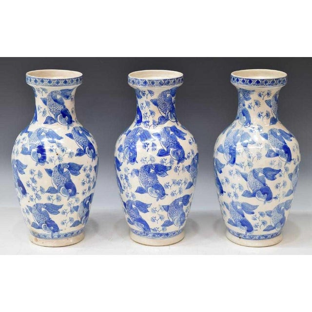 Chinese Blue & White Porcelain Fish Vases - Set of 3 For Sale - Image 4 of 4