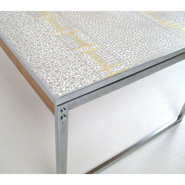 Metal 1960s Mid-Century Modern Chrome and Mosaic Coffee Table For Sale - Image 7 of 10