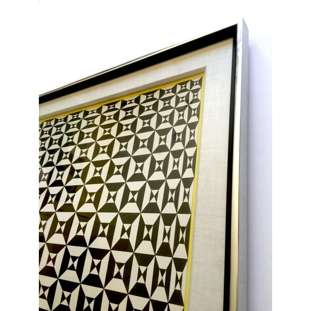 "Black Edna Andrade Rare Vintage 1969 Mid Century Modern Framed Op Art Lithograph Print "" Black Diamond "" 1967 For Sale - Image 8 of 13"