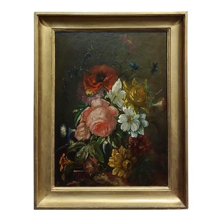 Still Life of Flowers-19th Century Continental School-Beautiful Oil Painting For Sale