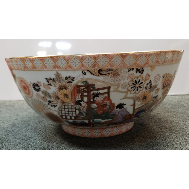 1970s Vintage Circa 1970 Satsuma Style Porcelain Figural, Floral, and Butterfly Motifs Punch Bowl Made in China For Sale - Image 5 of 8