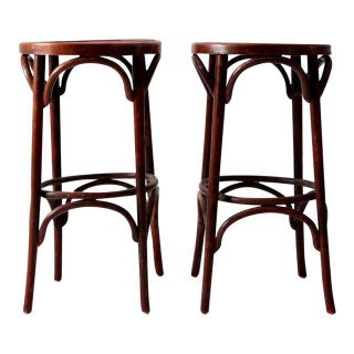 1950's Bentwood Cafe Stools - A Pair For Sale