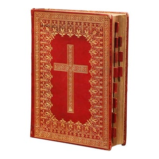 Early 20th Century Latin Red and Gilt Leather Bound Church Missal Dated 1923 For Sale