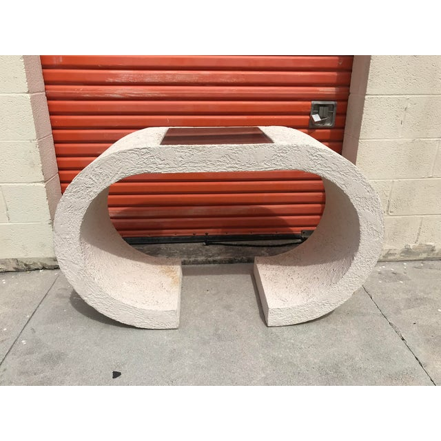 Vintage White Plaster Waterfall Shape Console Table For Sale - Image 4 of 4