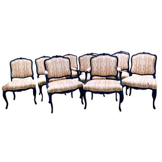 Louis XV Inspired Black Dining Chairs With Ikat Upholstery - Set of 10 For Sale
