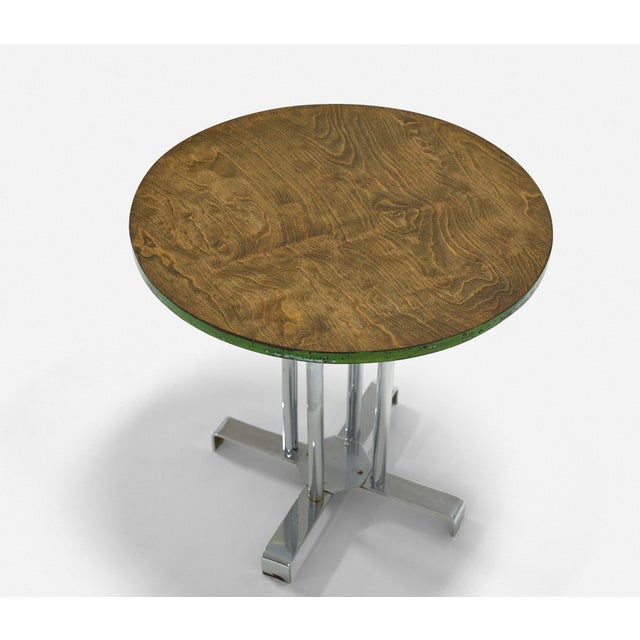 1940s Vintage Wood and Tubular Steel Side Table Designed by Alfons Bach for Lloyd Loom Products For Sale - Image 5 of 6