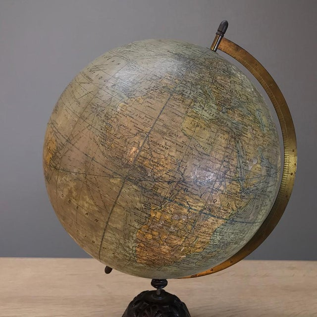 Cast Iron Antique French Paper MacheÕ World Globe on Painted Cast Iron Stand For Sale - Image 7 of 11