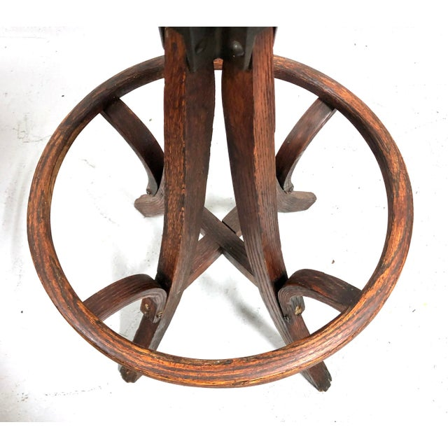 Brown Antique Architectural Industrial Oak Drafting Stool For Sale - Image 8 of 13