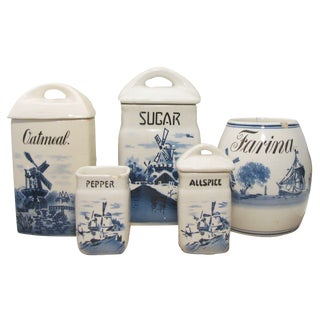 Delft Style Blue & White Canister Collection, S/5 For Sale