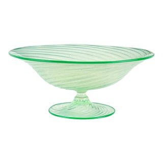 Murano Green Opalescent Gold Flecks Italian Art Glass Footed Compote Bowl For Sale