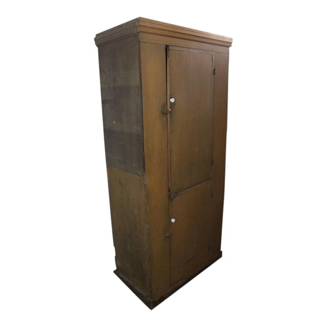19th Century New England Original Painted Two-Door Wall Cupboard For Sale