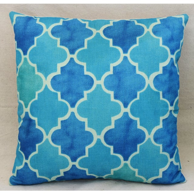 BoHo Chic Moroccan Tiles Linen Feather/Down Pillows - Pair - Image 5 of 11
