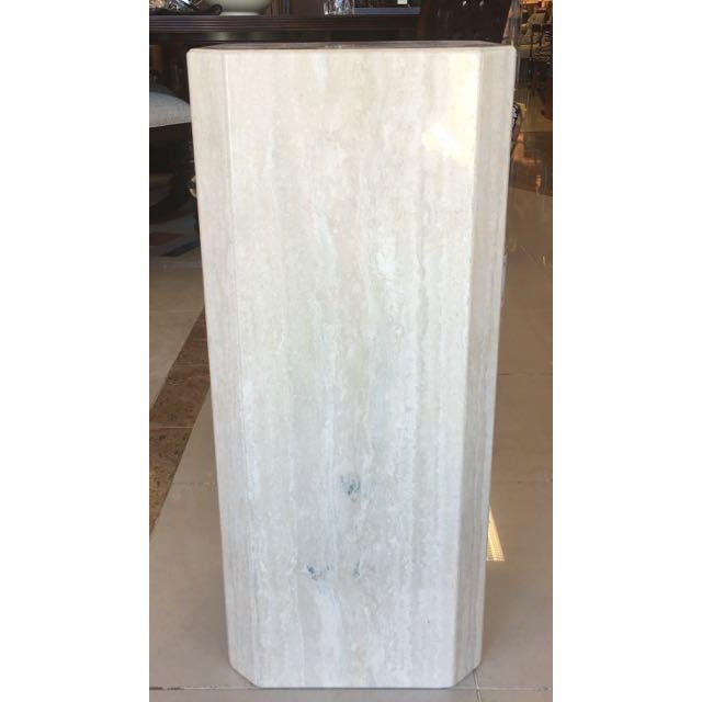 Minimalism Gray Travertine Marble Pedestal For Sale - Image 3 of 10