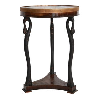 Petite Walnut & Ebony Round Table For Sale