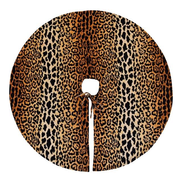 """Only One Left!!! Custom Tailored X-Large 55"""" Leopard Spot Velvety Christmas Tree Skirt - Image 1 of 9"""