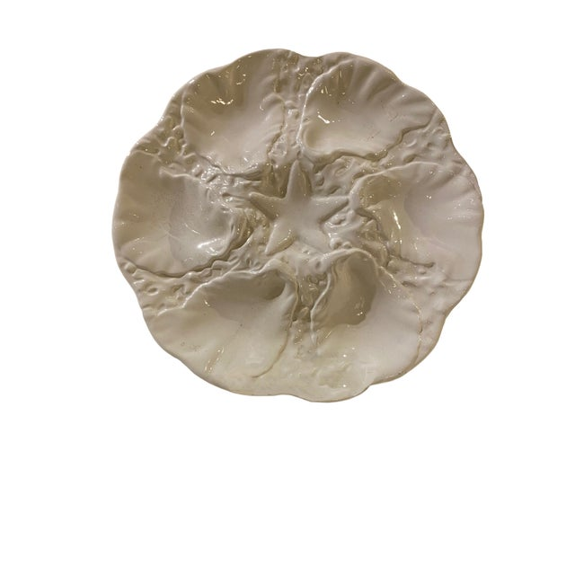 Coastal White Starfish Oyster Plate For Sale - Image 3 of 5