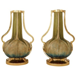 Antique Amphora RStK Vase Pair With Gold Metal Mounts, Attr. Paul Dachsel For Sale