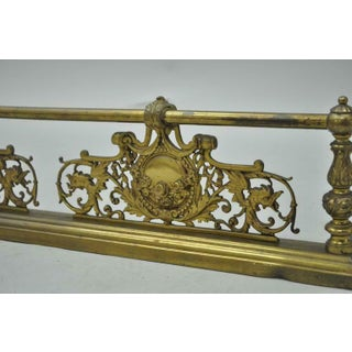 19th Century Antique French Louis XV Style Victorian Brass Rose Bird Fireplace Fender Preview