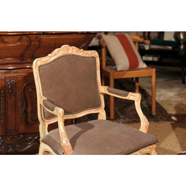 French Louis XV Style Painted Bergere Chair For Sale - Image 3 of 7