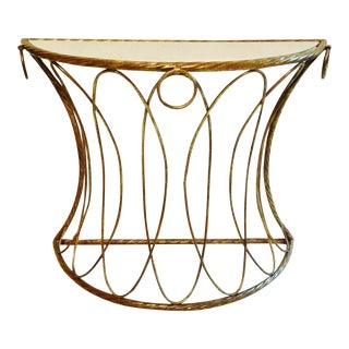 Hollywood Regency Italian Gold Leaf Demilune Console Table For Sale