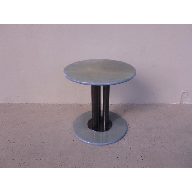 Post Modern 80's Roche Bobois Goatskin / Parchment Three Column Occasional Table For Sale - Image 9 of 9