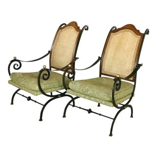 1960s Hollywood Regency Iron Chairs - a Pair For Sale