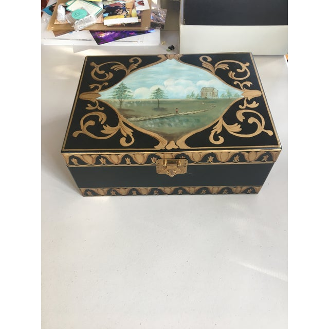 Antique Box With Landscape and Gold Trim Hand Painted Details For Sale - Image 9 of 9
