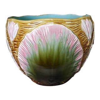 Late 19th Century French Majolica Porcelain Lily Pad Motif Planter For Sale