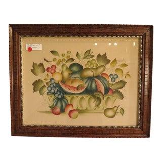 New England Theorem Fruit Basket Painting on Velvet by Elizabeth Goodwin For Sale