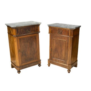 19th Century French Louis Philippe Period Burled Wood Cabinet - Pair For Sale