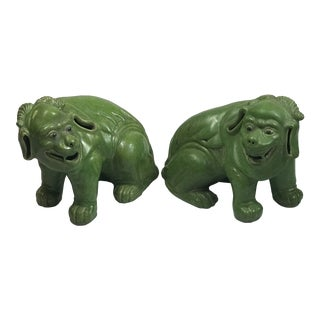 Chinese Green Porcelain Animal Statues - a Pair For Sale