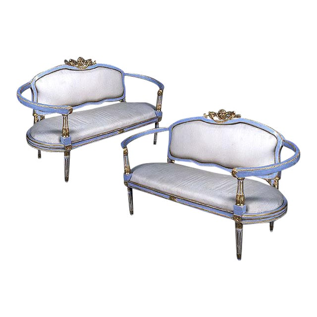 A Rare and Graceful Pair of Italian Painted and Parcel Gilt Louis XVI Period Settees For Sale
