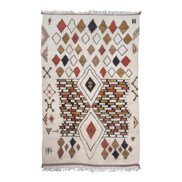 Moroccan Handwoven Rug Made with Natural Vegetable Dye and Wool For Sale
