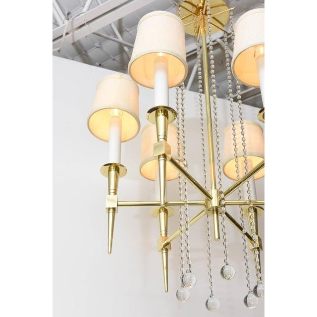 1950s Polished Brass and Glass Beaded Chandelier by Tommi Parzinger For Sale - Image 5 of 10