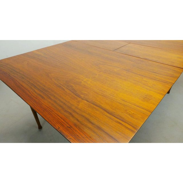 Broyhill Mid Century Modern Walnut & Rosewood Expanding Dining Table With Butterfly Leaf by Frank and Son For Sale - Image 4 of 8
