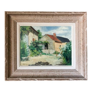 Early 20th Century French Farmyard Oil Painting by G. Berthier, Framed For Sale