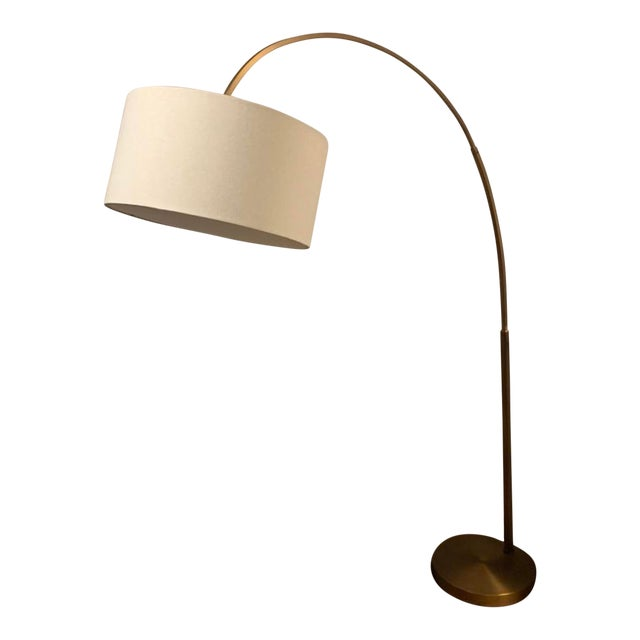 West Elm Overarching Brass Floor Lamp With White Linen Drum Shade