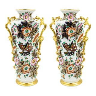 English Victorian Porcelain Vases - a Pair For Sale