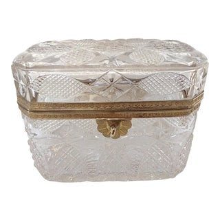 Antique French Crystal Box or Casket For Sale